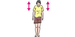 肩を上げ下げする。腕はブラリとたらしたまま、両肩をもち上げ、力を抜いてストンと落とす要領で行う。