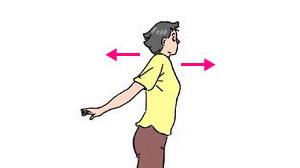 両肩を後ろに引き、次いで前に出す。
