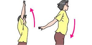 両腕を上に振り上げ、後ろに振り下ろす。できるだけ真上まで上げ、最後も、できるだけ後ろへ振り下ろすこと。