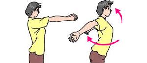 両腕を前に伸ばした位置から水平に腕を開く。少しつっぱる感じがするまで十分に開くこと。