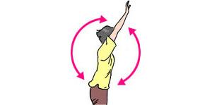 腕を大きく前と後ろに交互に回す。